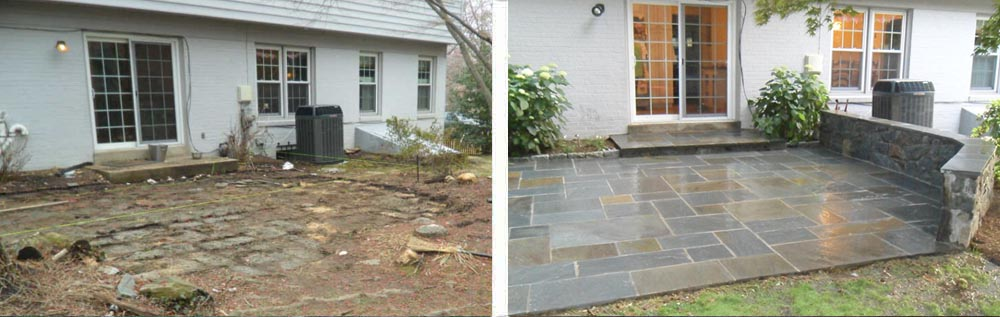 Flagstone Patio before and after, Professional Stonework, Silver Spring, MD