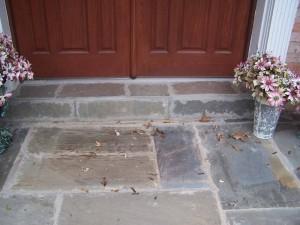 Flagstone walkway with poor workmanship
